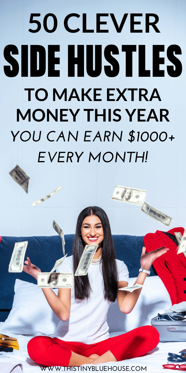 Here are 50 clever ways to make extra every month. These ideas are a great way to increase your monthly income, pay down debt or save for a special purchase or event. #makemoney #sidehustles #waystomakeextramoney #extramoneyideas