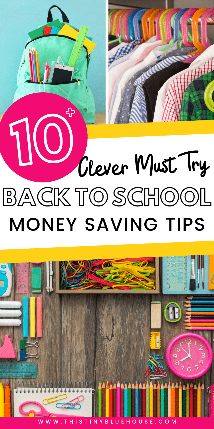 here are over 10 practical hacks to help you save money on back to school shopping. From money saving hacks for supplies to clothes these tips and tricks will help you save hundreds of dollars this year. #backtoschool #savemoneybacktoschool #waystosavemoneyonbacktoschool #savemoneyschoolsupplies #moneysavingtipsbacktoschool