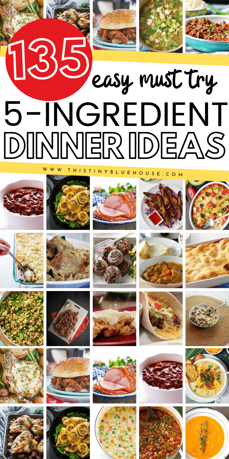135 delicious Quick & Easy 5-Ingredient Suppers split into chicken, beef, pork, fish & meatless categories. Simplify your meal plan with these easy meals. #easydinners #simplesupperrecipes #easyweeknightsuppers #5ingredientdinners #5ingredientsuppers #easyschoolnightdinners #easilyfamilydinnerideas