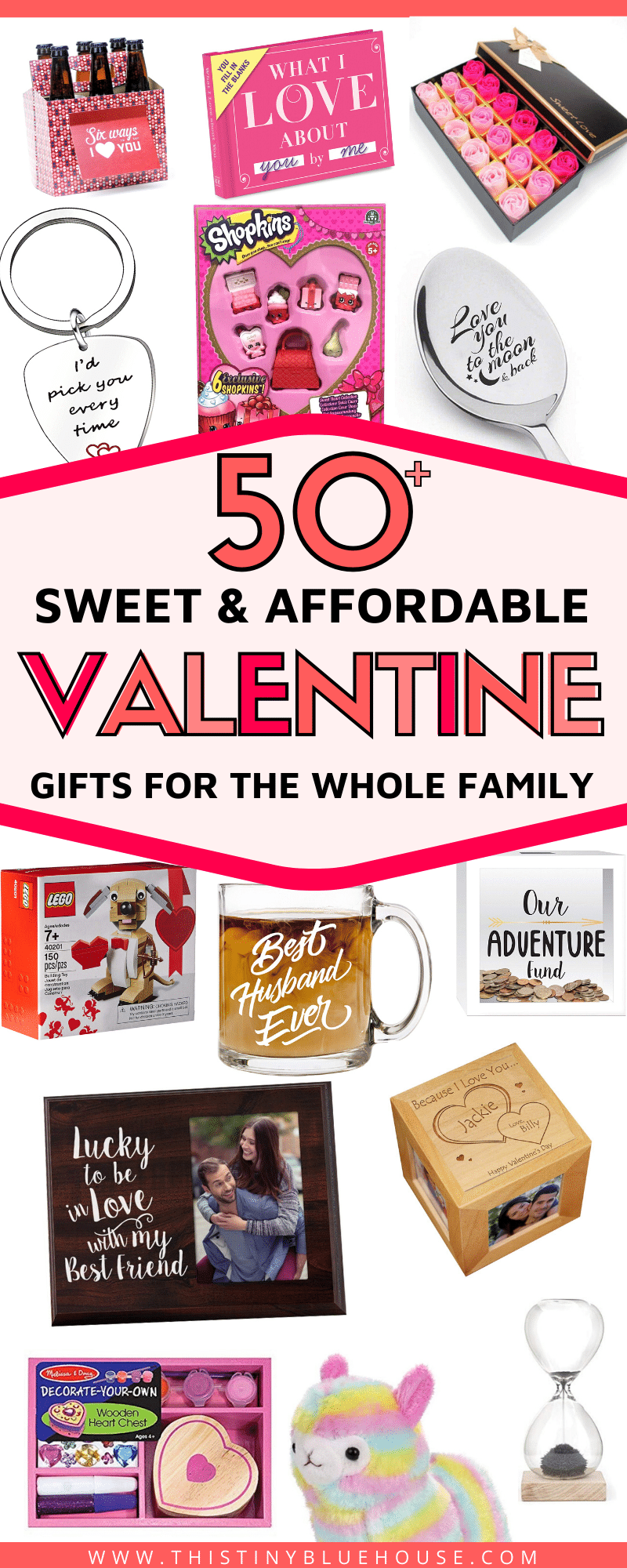50+ Inexpensive Valentine's Day Gifts for everyone in the family #gifts #giftguide #valentinesday #vday #love #giftsforhim #giftsforher #giftsforkids #frugalliving #cheapgifts #cheapgiftguide