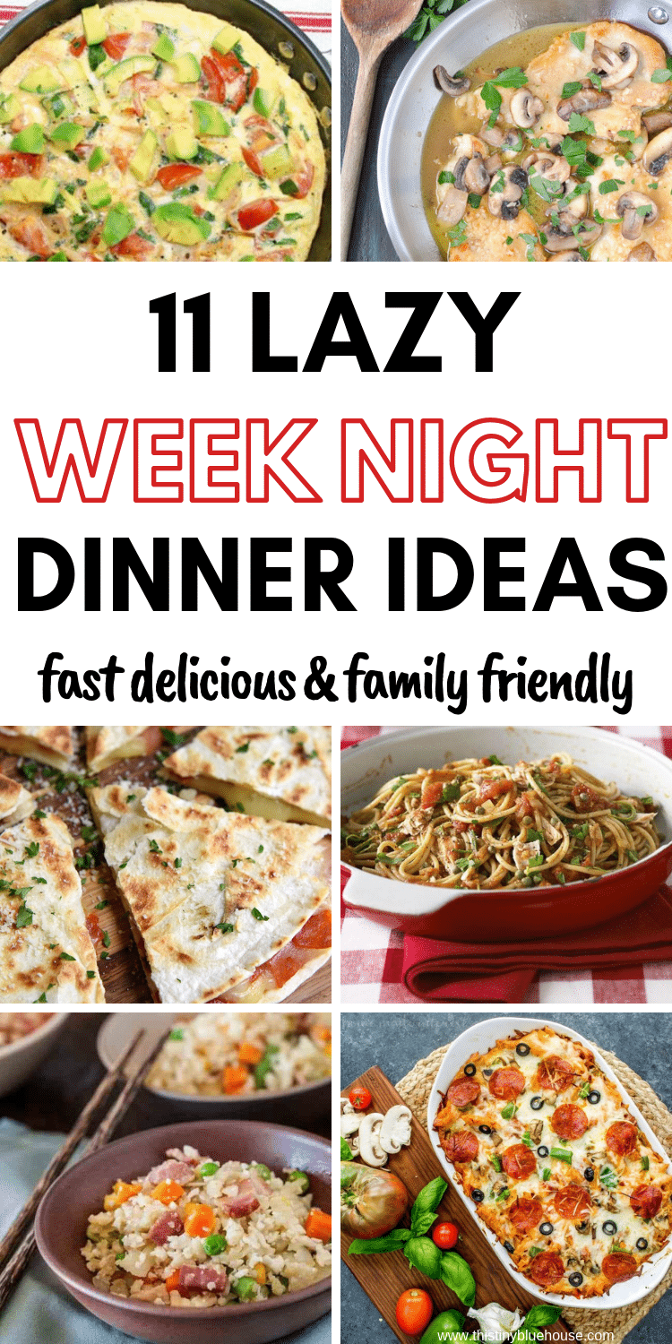 Here 11 lazy weeknight dinners that will make dinner a breeze. Life can get crazy and these 11 meals are sure to make life easier on busy weeknights. #easydinners #easydinnerideas #easydinnerideasforbusyweeknights #weeknightdinnerideas #familyfriendlydinnerideas #busyweeknightdinners #dinnersforbusymoms