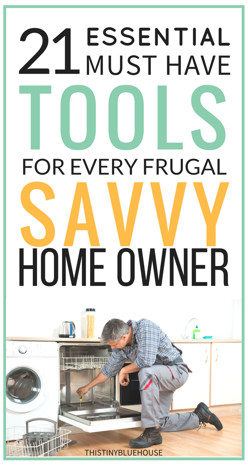 21 essential must have tools tools for every frugal DIY home owner. Why pay a fortune for home maintenance when you can do most of it yourself? Here are some tools you'll need to make home maintenance a breeze!