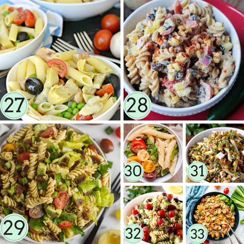 30+ delicious and easy pasta salad recipes that are perfect as a side or main. These delicious pasta salads are a great option for your next BBQ, potluck or even part of your weekly meal plan. #recipes #pastasaladrecipes #quickmealideas #bbqrecipes #easybbqrecipes #easypotluckdishes #pastasalads #easypastasaladrecipes