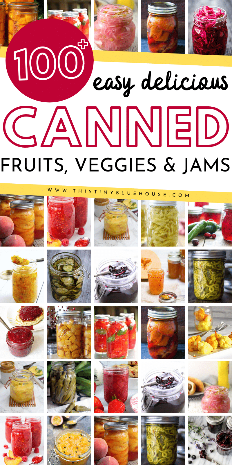 here are over 100 canning recipes to make the most of summer produce. This super comprehensive canning recipe guide includes fruits, veggies and chutney recipes for you to try. #canning #canningrecipes #canningrecipeseasy #canningrecipesvegetables #canningrecipesfruits #canningrecipejams #canningrecipesideas #canningjamrecipes