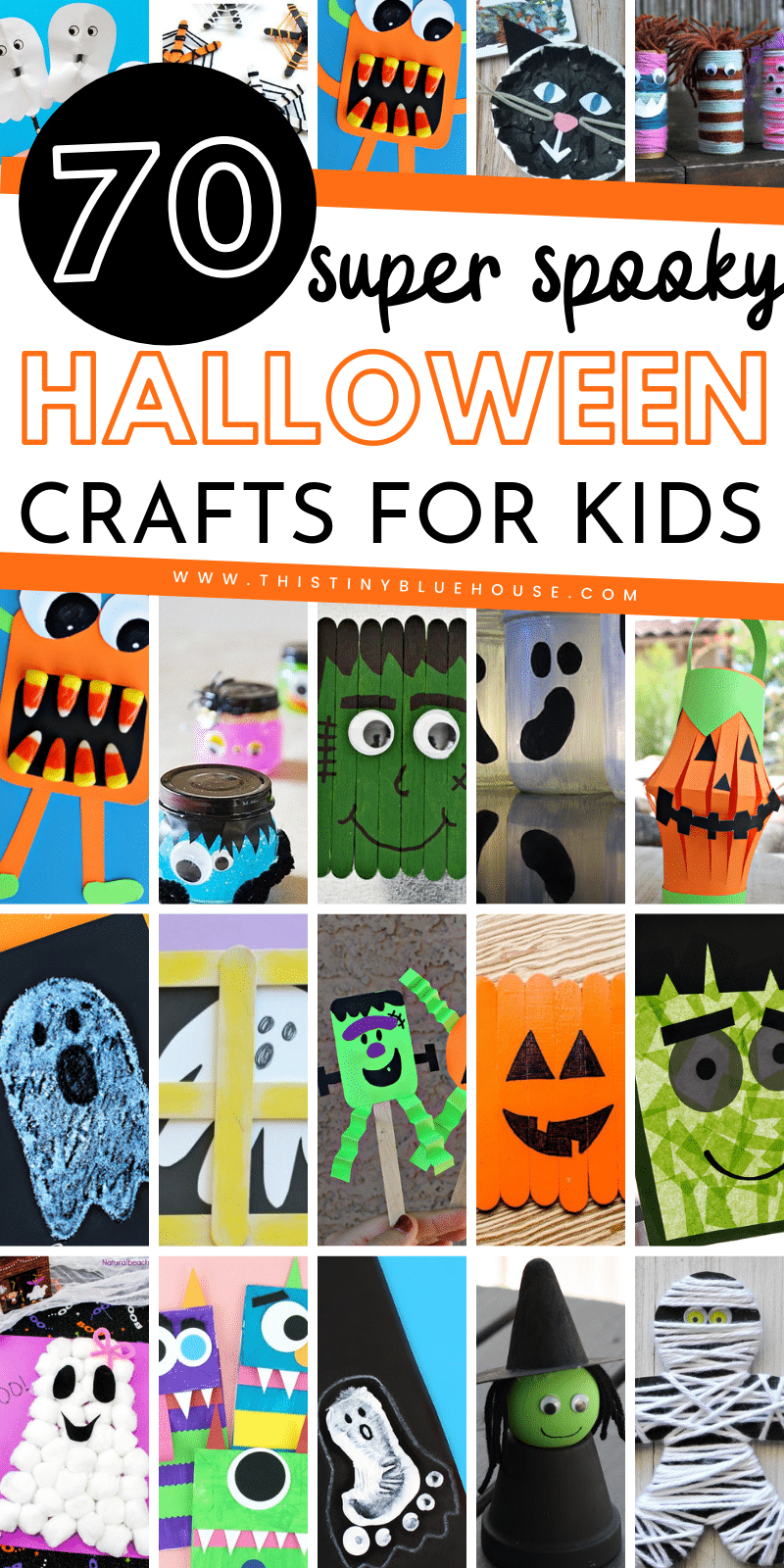 here are over 70 of the best cute and spooky Halloweencrafts for kids. From pumpkins to ghosts and witches these Halloween crafts for kids are guaranteed to get your kids excited about Halloween. #halloweencrafts #halloweencraftsfortoddlers #halloweencraftsforkidstomake #halloweencraftsdiy #halloweencraftseasy #halloweencraftskindergarten #halloweencraftsforchildren