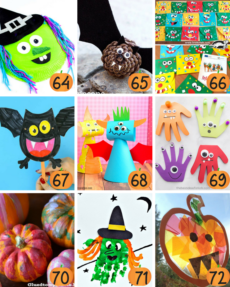 The BEST collection of over 70 Halloween crafts for kids. Keep kids busy and having a blast with these awesome Halloween crafts for kids. Cute, spooky and fun, these crafts are sure to keep your kid busy for hours. #HalloweenCrafts #HalloweenCraftsForKids #HalloweenCraftsForToddlers #HalloweenCraftsForKidsToMake #HalloweenCraftsForPreschool #HalloweenCraftsEasy #HalloweenCraftsDIY #HalloweenCraftsDollarstore #HalloweenCraftsSimple #HalloweenCraftsPumpkin #HalloweenCraftsCute #HalloweenCraftsCheap #HalloweenCraftsGhost