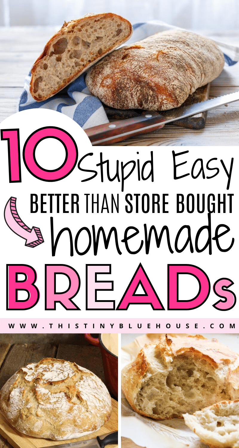 Here are the best 10 crusty bread recipes that are the perfect addition to any meal. These homemade bread recipes are easy, delicious and better than store bought. #bread #breadrecipes #breadhomemade #breadeasy #breadquick #breadnoknead #breaddutchoven #whitebreadrecipe #easywhitebread #homemadebreadreccipes #besteasybreadrecipes