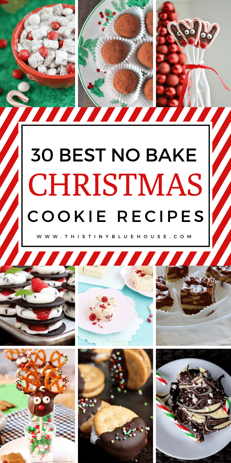 Looking for a quick or last minute holiday cookie or treat? Here are over 30 no bake Christmas cookies that would make the perfect addition to any holiday table, school event or potluck. #holidaycookies #holidaycookieschristmas #holidaycookiessimple #nobakecookies #nobakecookiesholidays #nobakecookiessimple #nobakecookieschristmassimple