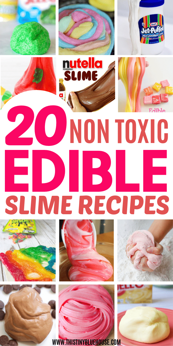 The ultimate collection of BEST edible slime recipes for kids. Made without borax, glue or other dangerous chemicals these best edible slime recipes are not only insanely fun BUT super safe for kiddos to play with. #slimerecipes #slimerecipeswithoutborax #slimerecipeswithoutcontactsolution #slimerecipesbest #slimerecipesedible #edibleslimerecipes #edibleslimerecipeshowtomake #edibleslimerecipesDIY