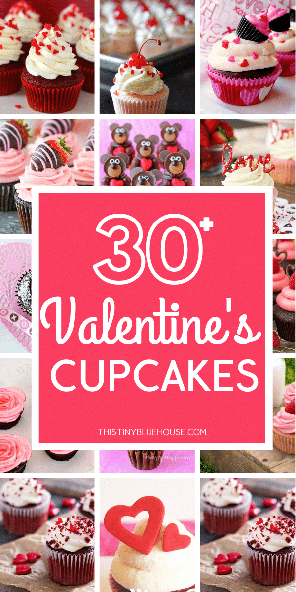 Make Valentine's Day extra special this year by making cute fun Valentine's Day Cupcakes. These 30+ Valentine's Day Cupcakes are the perfect edible gift. #valentinescupcakes #valentinesdaycupcakesideas #easyvalentinesdaycupcakes