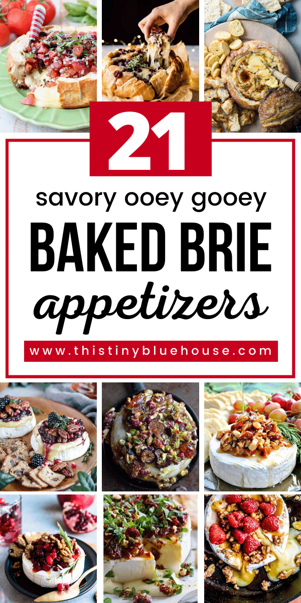 Indulge in one of these delicious ooey gooey baked Brie appetizers. These easy savory baked Brie's are so good you can even eat them as a light meal or side with your favorite meal. #bakedbrie #easybakedbrie #savorybakedbrie #deliciousbakedbrie #bakedbrierecipe #dessertbrie