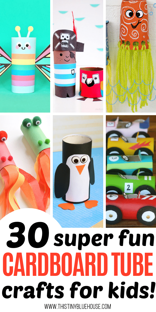 Have hours of crafting fun with these 30 adorable and fun toilet paper roll crafts for kids. Don't recycle those cardboard tubes! Instead, get crafty with one of these super easy tutorials. #toiletpapertubecrafts #toiletpapertubecraftsforkids #cardboardtubecrafts #cardboardtubecraftsforkids