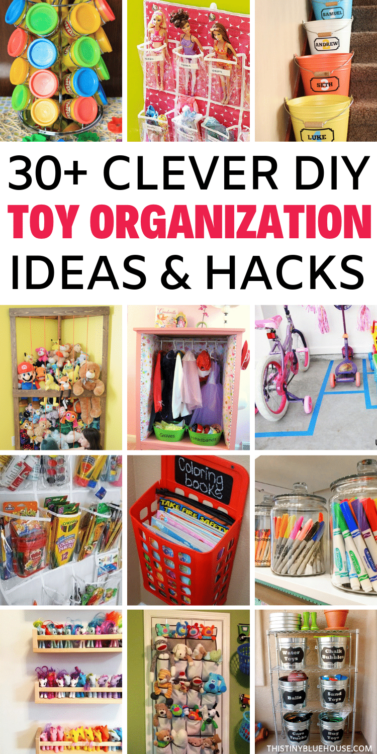 Take control of toy chaos with these clever toy organization ideas. With 30+ genius storage ideas, you're guaranteed to take control of toy chaos for good. Perfect for small or big spaces these are toy storage solutions that all parents need to try right now. #toystorage #toyorganization #toystorageforsmallspaces #toystorageideas #toystoragesolutions #DIYtoystorage #DIYtoyorganization #CheapToyStorage