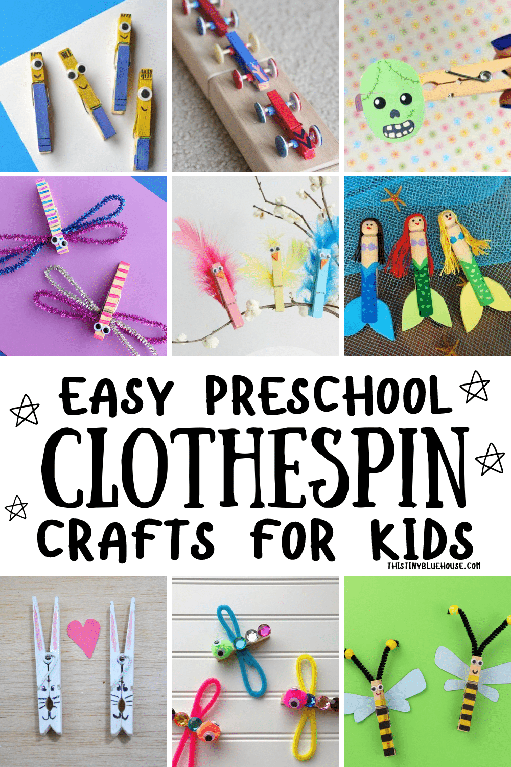 Easy Preschool Clothespin Crafts For Kids