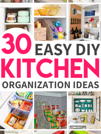 30 Sanity saving genius kitchen organization hacks that are guaranteed to keep a tidy kitchen. They're so clever you'll regret not having tried them sooner! #kitchenorganization #smallkitchenorganization #kitchenorganizationideas #DIYkitchenorganization #dollarstorekitchenorganization #DIYpantryorganization