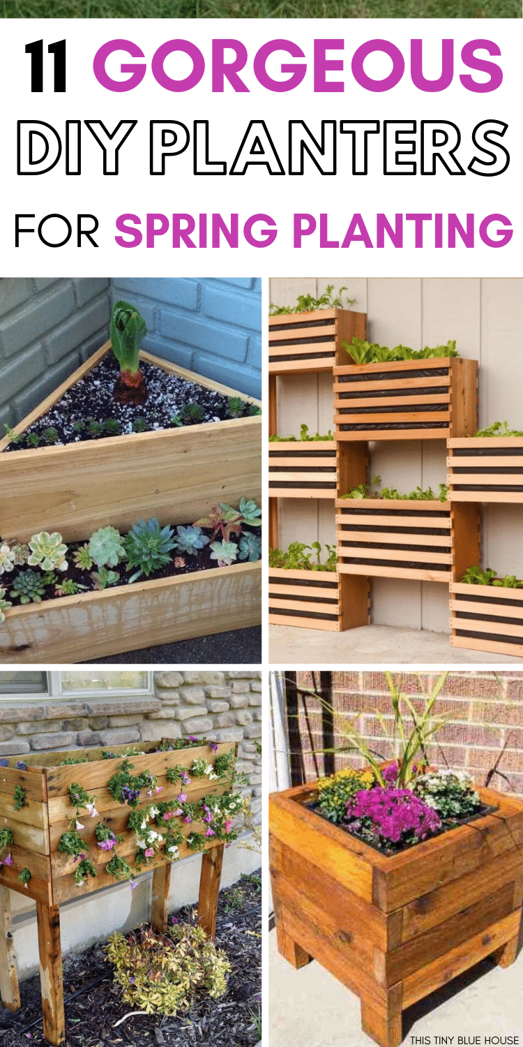 Are you looking for DIY Planter Box ideas to make this spring? Here are 11 easy DIY Planter Box Ideas that are a perfect way to spruce up your outdoor space. Whether you're looking to plant flowers or vegetables these fun DIY Planter Box ideas are a fun addition to your spring decor. #DIYPlanters #DIYPlanterBoxes #DIYPlantersPots #DIYPlantersVegetables #DIYPlantersCheap #DIYPlantersWood #DIYPlanterseasy #DIYPlanterBoxesWood #DIYPlanterBoxIdeas