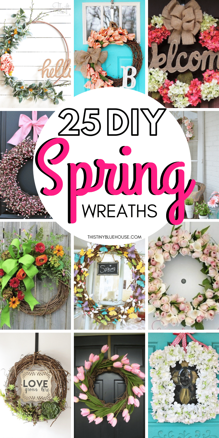 Celebrate the end of snow and return of green grass and beautiful flowers by making one of these gorgeous DIY spring wreaths. Made with simple materials these gorgeous DIY spring wreaths are the perfect way to make your front door pretty this spring. #DIYSpringWreath #DIYSpringWreathForFrontDoor #DIYSpringWreathEasy #DIYSpringWreathDollarStore #DIYSpringWreathCheap #DIYSpringWreathFarmhouse #DIYSpringWreathSimple