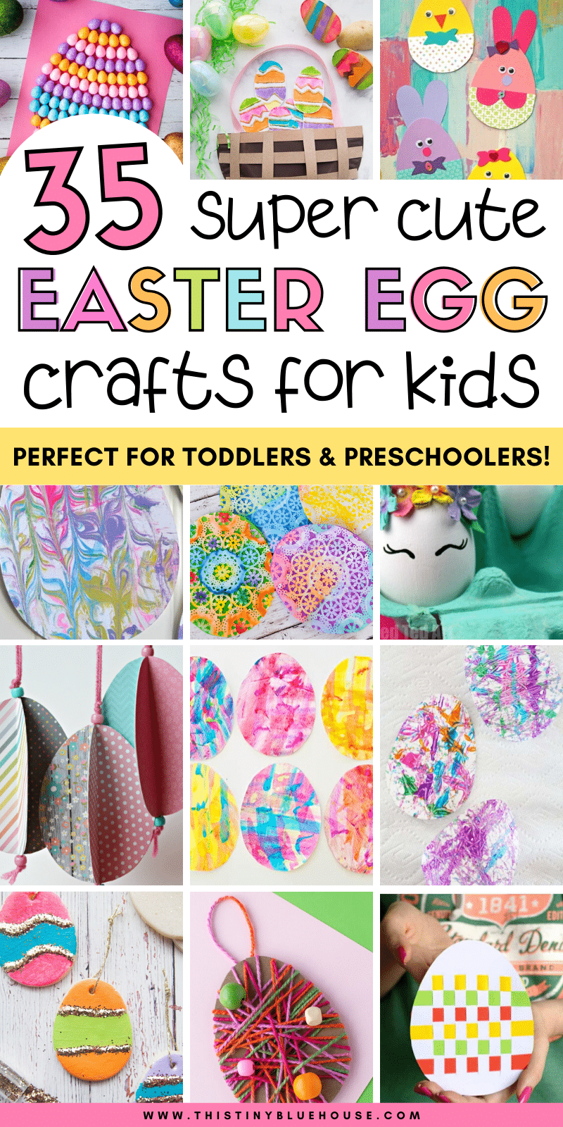 Celebrate Easter with the kids by making one of these super cute Easter egg crafts for kids. These 35 easy crafts are great for even the youngest kids including toddlers and preschoolers. #eastereggcrafts #eastercrafts #eastercraftsfortoddlers #eastercraftsforpreschoolers #easyeastereggcraftsforkids