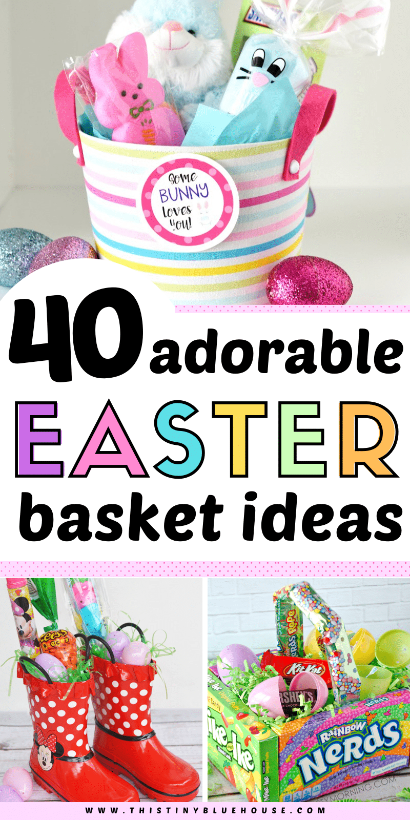 Surprise your kiddos with one of these 40 adorable Easter basket ideas for kids. Fun, creative and easy to make these Easter Baskets are guaranteed to be a hit. #easterbasket #diyeasterbasketideas #diyeasterbaskets #easterbasketideasforkids #simpleeasterbasketideasforkids #besteasterbasketideasforkids