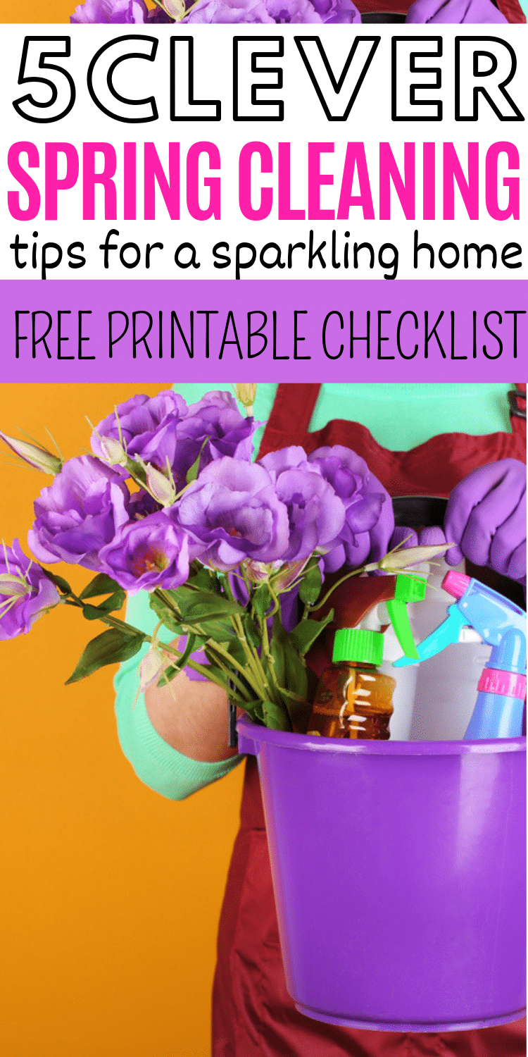 Are you looking for a  some spring cleaning hacks to get your home fresh and clean this spring? Here are 5 of my favorite cleaning hacks to meet your cleaning goals and get your home sparkling clean in time for summer. BONUS free Spring Cleaning Checklist and printable is available at the bottom of this post! #springcleaning #springcleaninghacks #springcleaningtips #springcleaninglist #springcleaningprintable #springcleaningchecklist #springcleaningtodolist