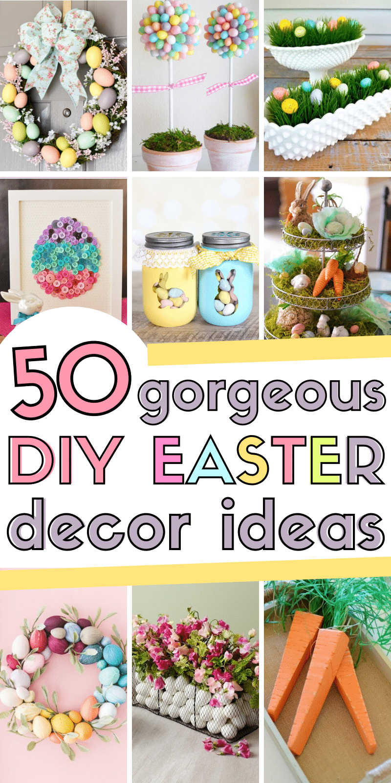 Spruce up your home for Easter with these 50 cheap & easy STUNNING DIY decor ideas for Easter. #easterdecor #diyeasterdecor #cheapeasterdecor #simpleeasterdecor #farmhouseeasterdecor #dollarstoreeasterdecor #diydecorideasforideas