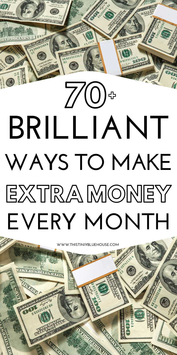 Make an extra $100 per day with one or a combination of these clever side hustles. With over 70 genius ways to increase your income there is side hustle listed below that will fit just about any type of preference or lifestyle. #makeextramoney #makeextramoneyathome #waystomakeextramoney #sidehustles #sidehustleideas #waystomakemoneyfast #waystomakemoremoney