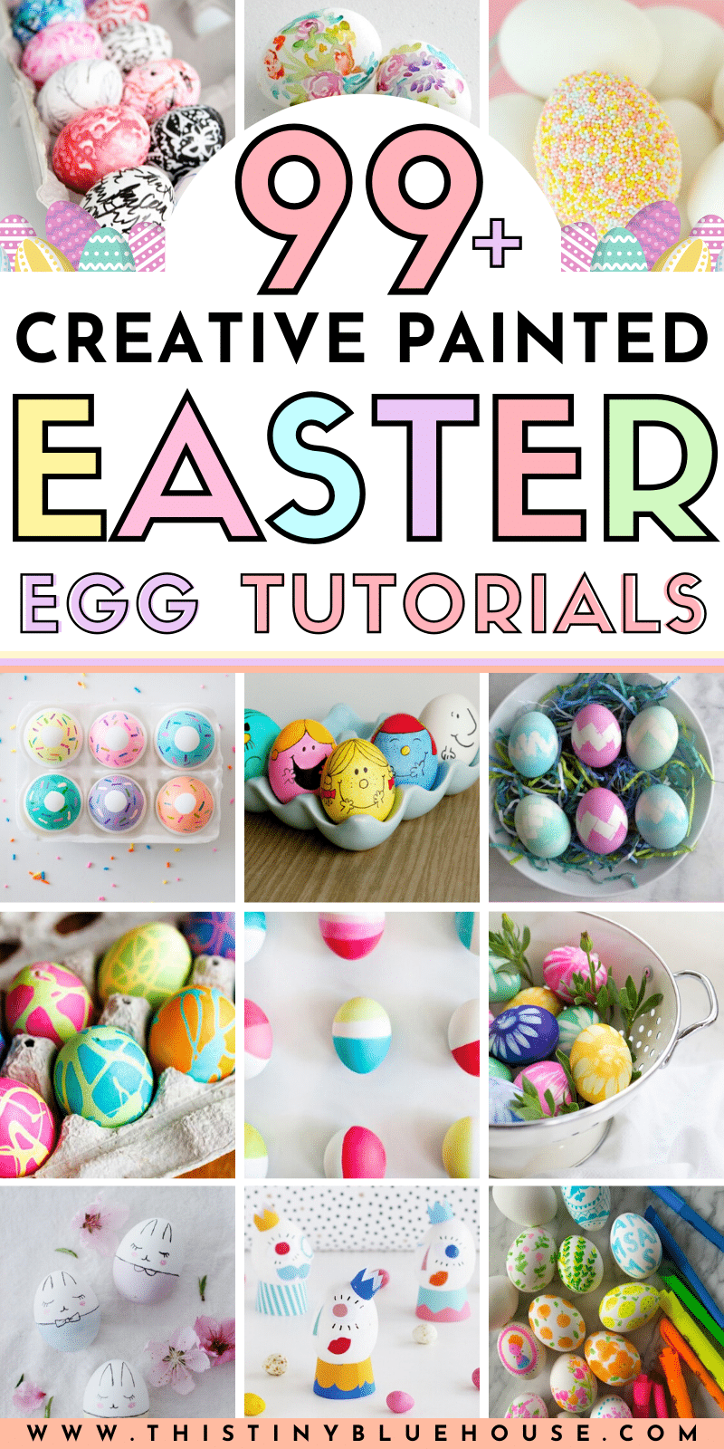 Make gorgeous painted Easter eggs this Easter with these 99+ Creative Painted Easter Egg tutorials. #eastereggs #paintedeastereggs #eastereggtutorials #paintedeastereggtutorials #easypaintedeastereggs