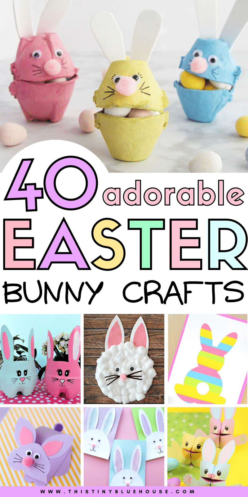 Get your kids excited about Easter with these fun, adorable and easy to make Easter bunny crafts. #eastercrafts #easterbunnycrafts #bunnycrafts #bunnycraftsforeaster #easyeastercraftsforkids #bunnycraftsforpreschoolers