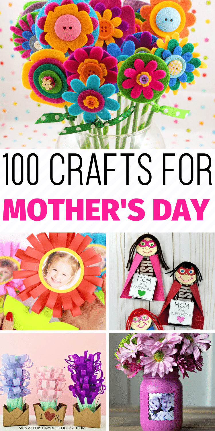 Looking for a sweet Mother's day gift idea that you can DIY this year? Here are 100 sweet Mother's day crafts that are perfect for showing mom she's loved. Perfect for kids of all ages these DIY Mother's Day gift ideas and crafts are the ultimate way to say I love you. #mothersday #mothersdaycrafts #DIYmothersdaygifts #mothersdaycraftsforkids #mothersdaycraftideas #mothersdaycraftspreschool #mothersdaycraftsforkindergarden #mothersdaycraftideasforkids