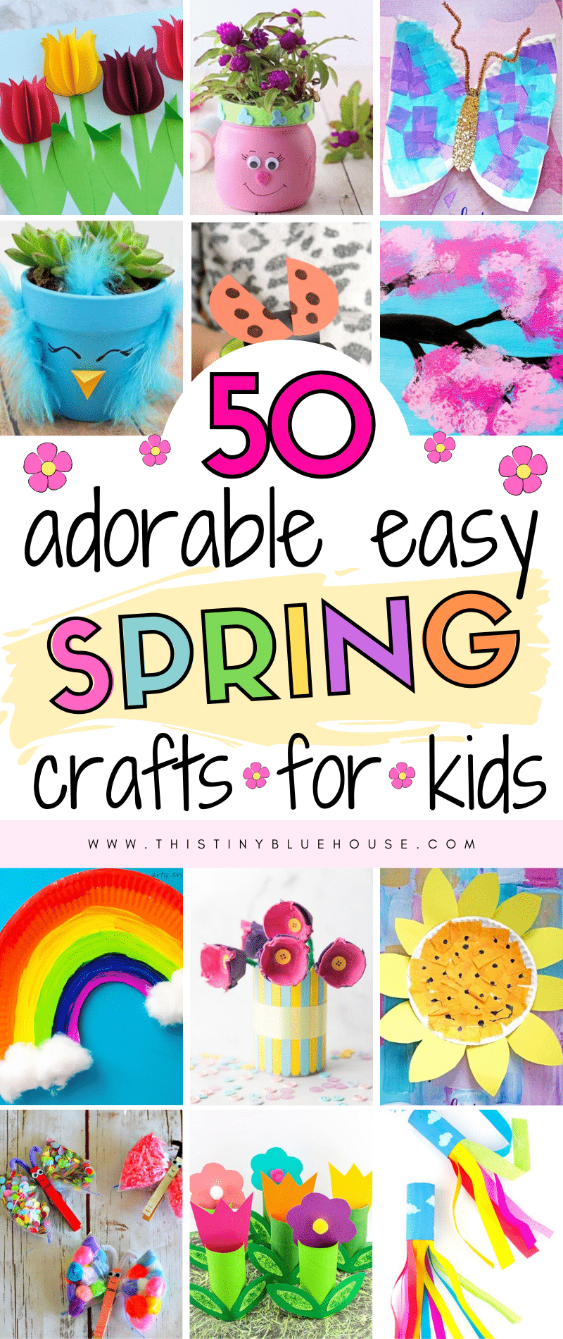 Welcome Spring with these fun adorable spring crafts for kids. From flowers to suncatchers there's an easy spring craft for even the youngest kids. #springcrafts #easyspringcrafts #springcraftsforkids #springcraftsfortoddlers #springcraftsforpreschoolers #cutespringcrafts #cutespringcraftsforyoungkids