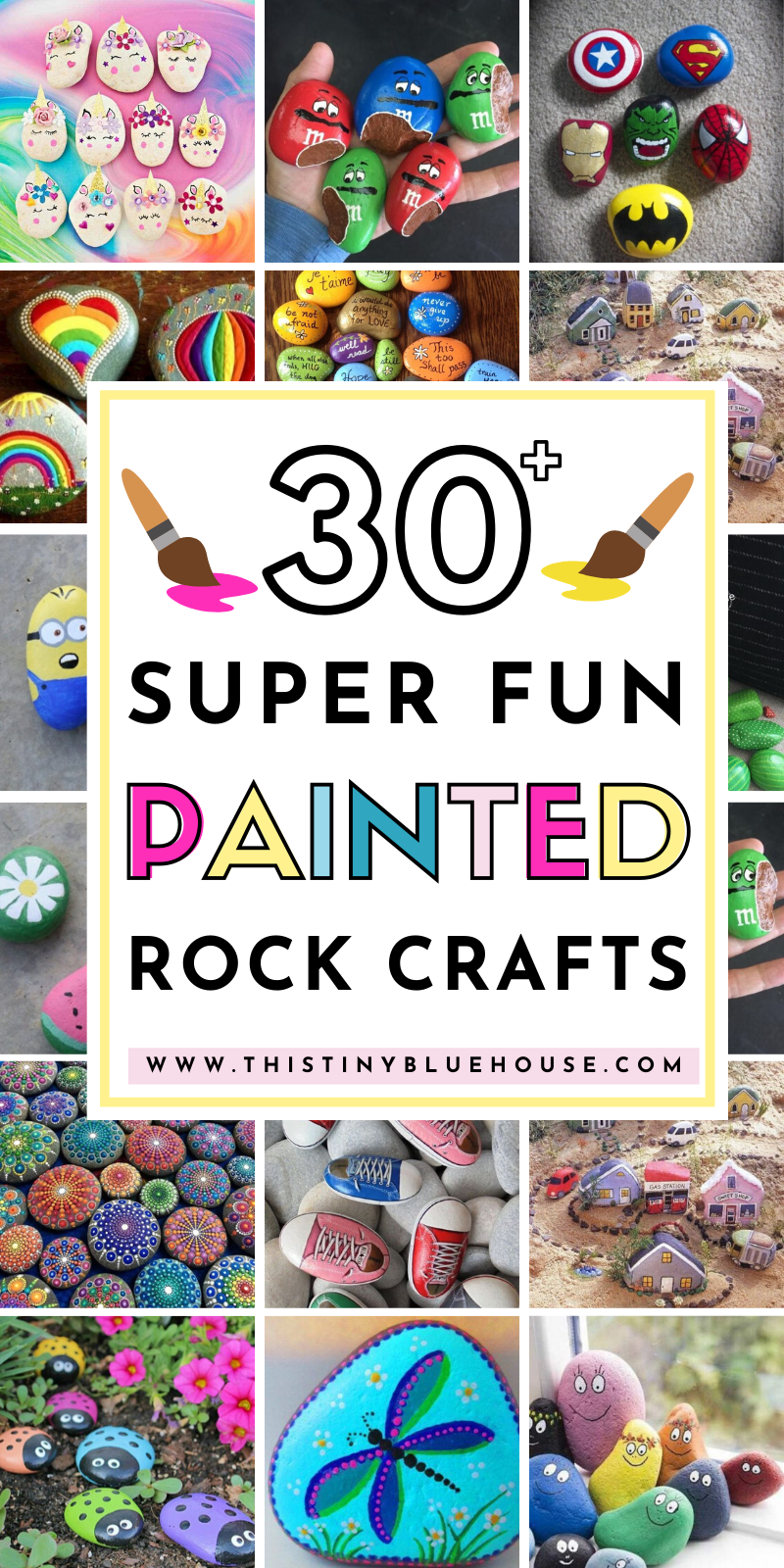 Here are 30+ fun painted rock ideas that will provide hours of fun! These creative and unique painted rocks are a perfect family friendly activity. #paintedrocks #paintedrockideas #DIYPaintedRocks #PaintedRocksForTheGarden #PaintedRocksKids #PaintedRocksEaster #PaintedRocksHowTo #PaintedRocksIdeasEasy #PaintedRocksIdeasForKids