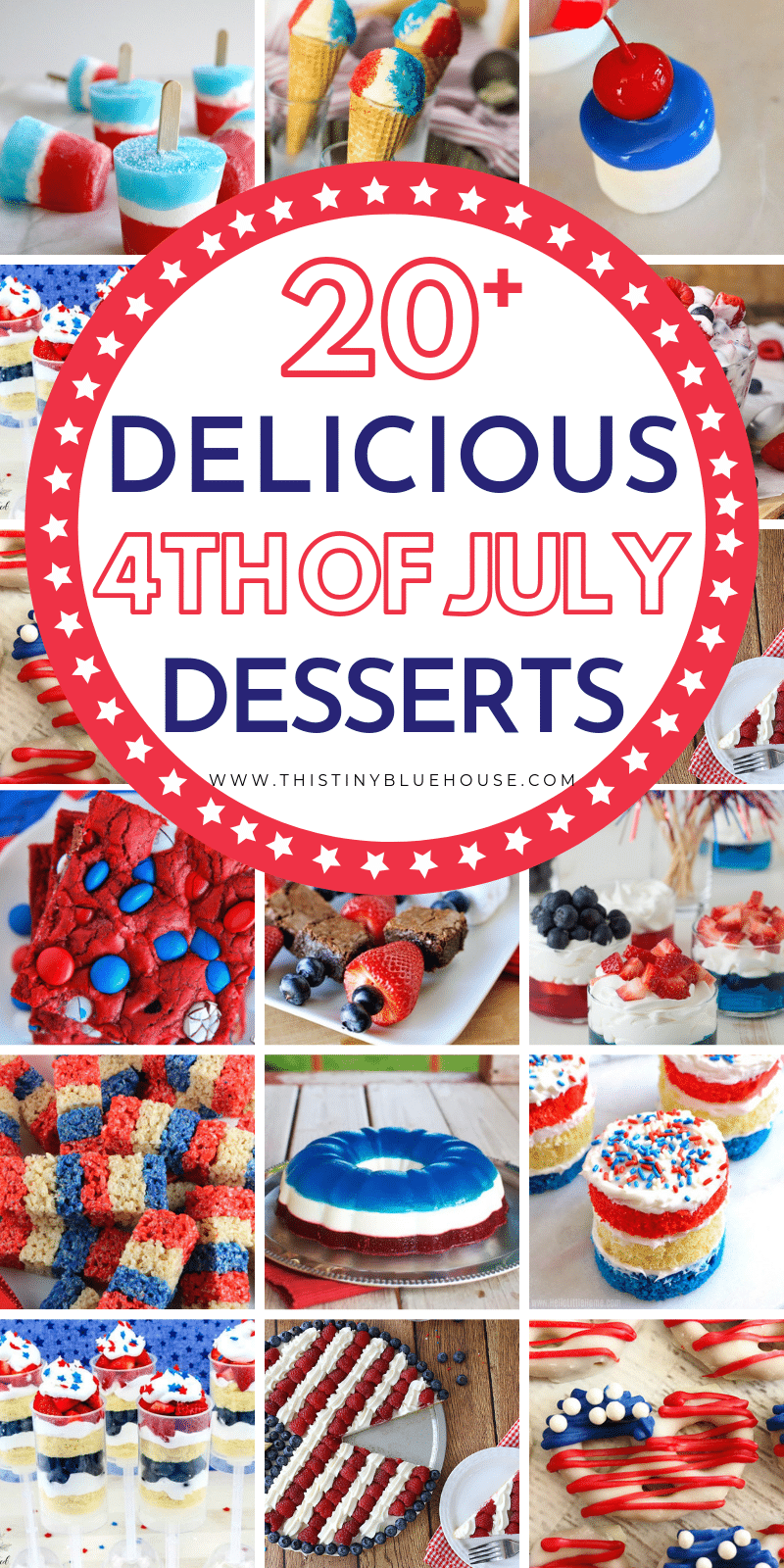 if you're planning and Independence day BBQ then these 4th of July Dessert ideas are the perfect way to end your delicious meal. With over 20 patriotic desserts to choose from you'll have a hard time making just one. #4thofjulydesserts #4thofjulydessertsforacrowd #4thofjulydessertsrecipes #independencedaydesserts #redbluewhitedesserts #patrioticdesserts