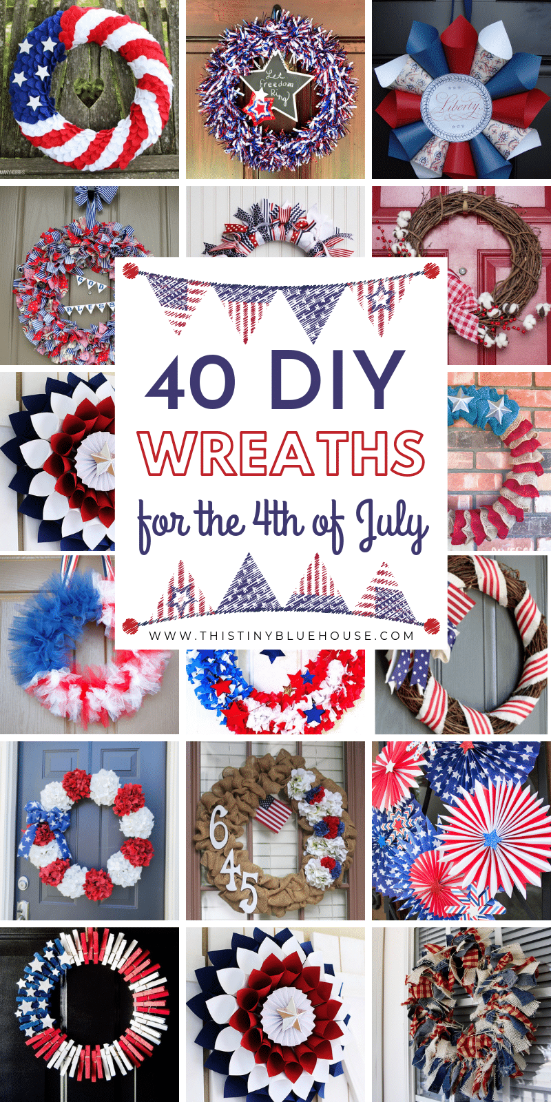 40 Patriotic Diy Dollar Store 4th Of July Wreaths This Tiny Blue House