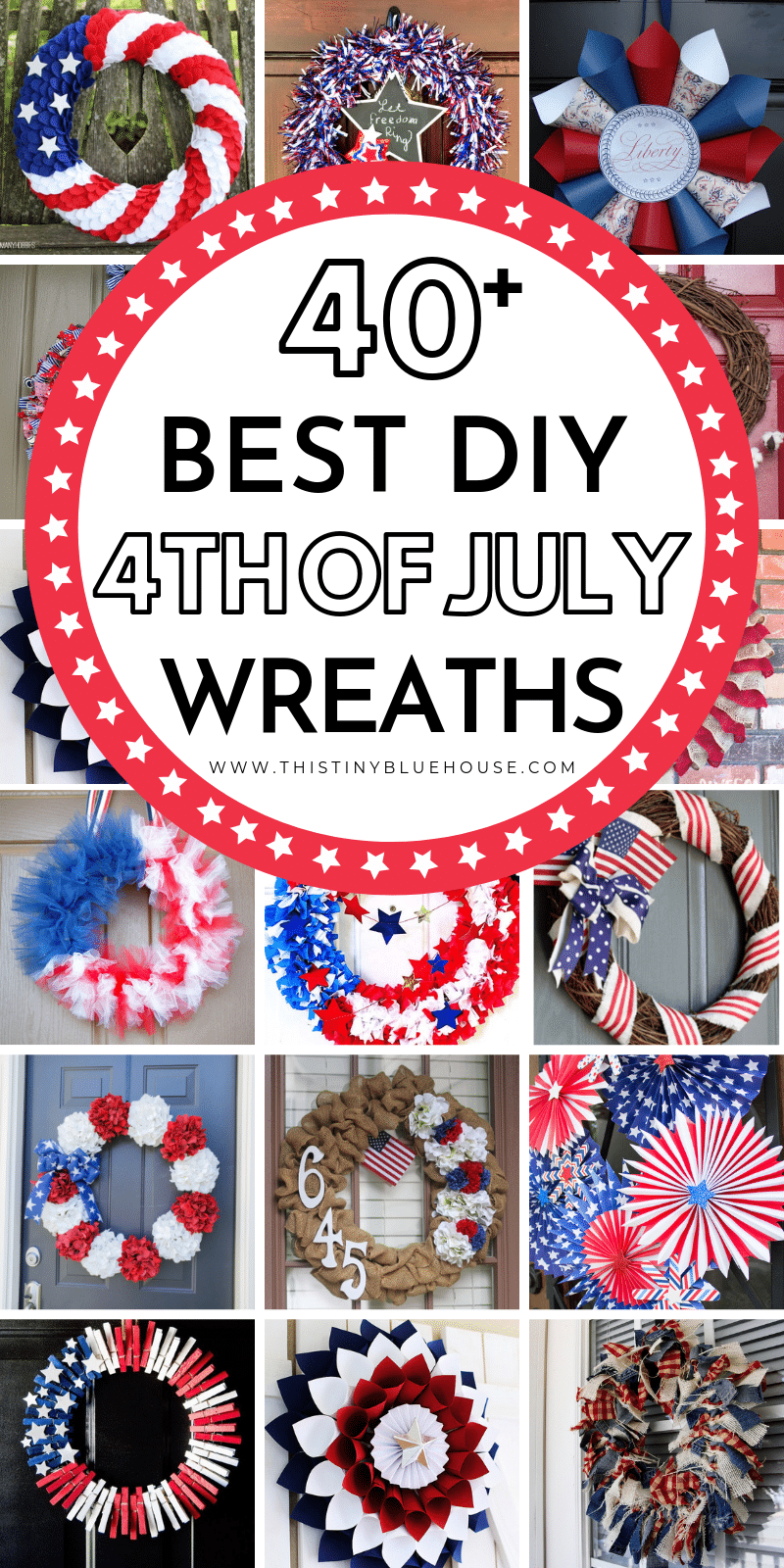 Here are over 40 gorgeous patriotic DIY dollar store 4th of July Wreaths that are the perfect addition to your front door for Independence Day. #independenceday #4thofjuly #diy4thofjulywreath #diyindependencedaywreath #patrioticwreathdiy #diy4thofjulydecor #diy4thofjulydecor