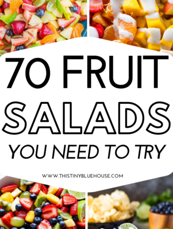 Here are 70 delicious easy fruit salad recipes that are perfect for summer including BBQs, parties, easy desserts and even afternoon snacks! #fruitsalad #fruitsaladdressing #easyfruitsalad #fruitsaladrecipe #healthyfruitsalad #easyfruitsaladrecipe