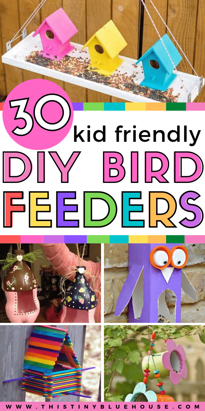 Celebrate Spring with the kids by making these super fun and easy DIY Bird Feeders. Made with simple materials you likely have laying around your home the kids will love preparing these fun bird feeder projects. #birdfeeders #birdfeedersdiy #birdfeedersforkidstomake #homemadebirdfeeders #DIYBirdFeeders #SimpleDIYBirdFeeders #