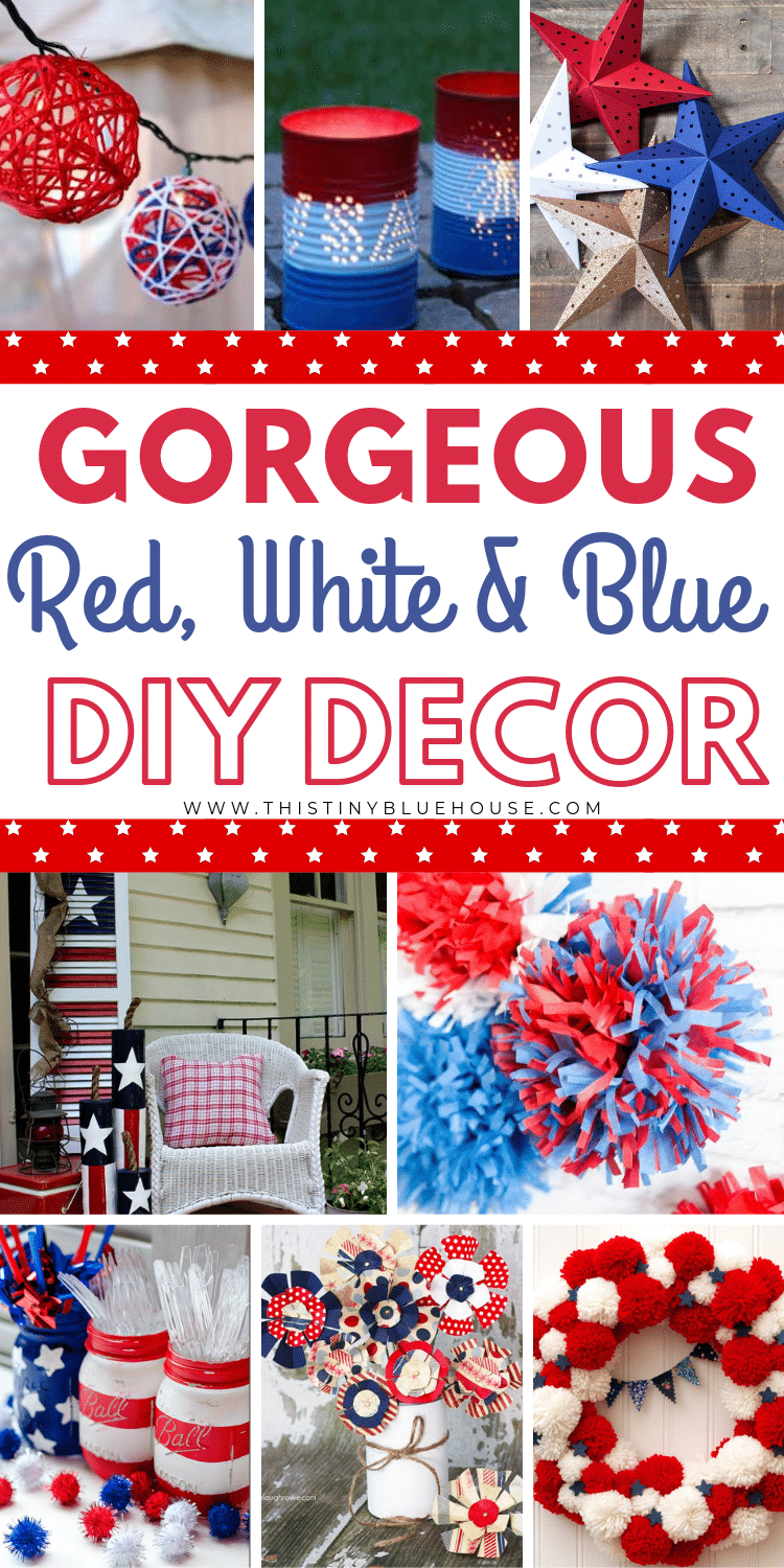 Here are over 100 of the best patriotic DIY 4th of July Decor Ideas. These gorgeous and patriotic decor ideas are perfect for celebrating Independence Day. #4thofjulydecor #4thofjulyDIYdecor #4thofjulydecorfarmhouse #4thofjulydecorationsdiy #independencedaydecor #independencedaydecorations