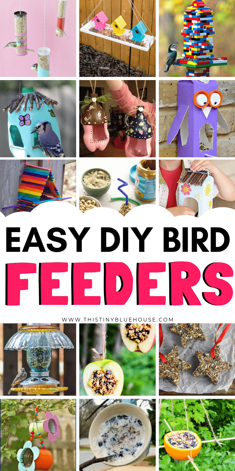 Here are over 25 easy DIY bird feeders that you will love making with your kids! They are all relatively easy to make and best of all most of these use materials that you can easily find laying around your home. #birdfeeders #birdfeedersforkidstomake #DIYbirdfeeders #birdfeederscraft #homemadebirdfeeders #easybirdfeeders