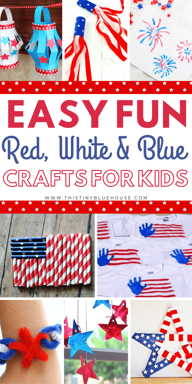Here are 50 cute patriotic 4th of July Crafts for Kids. These are easy to make and super fun. Add one or more of these patriotic crafts to your independence day to-do list. #4thofjulycraftsforkids #summercraftsforkids #4thofjulycrafts #independencedaycrafts #independencedaycraftsforkids #redwhitebluecrafts