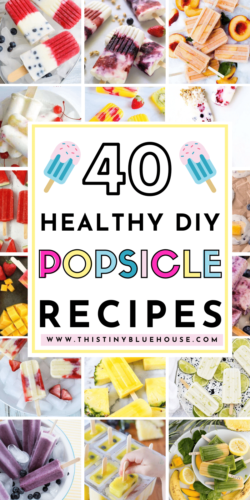 Indulge in one of these delicious, healthy and above all EASY homemade frozen popsicles that kids just love. These 40 homemade popsicle recipes are a great way to enjoy a healthy frozen treat without any guilt. #homemadepopsicles #easyhomemadepopsicles #homemadepopsiclerecipes #easyhomemadepopsicles #healthyhomemadepopsicles #DIYHomemadePopsicles #EasyKidsPopsicles