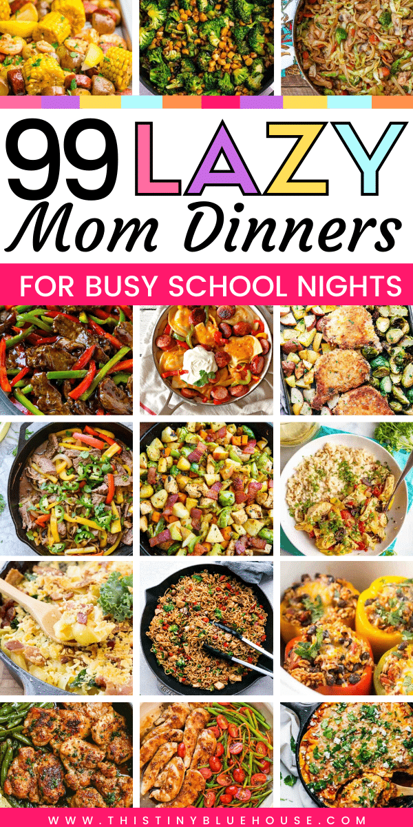 Make busy school nights a breeze with these 99 Lazy Mom Dinners. Easy and delicious these super simple dinner ideas are kid approved! #weeknightdinners #onepotdinners #easyschoolnightsuppers #mealplanrecipes #lazymomdinners #besteasysupperideas #simpleweekdaydinnerideas #besteasysimpledinnerideas