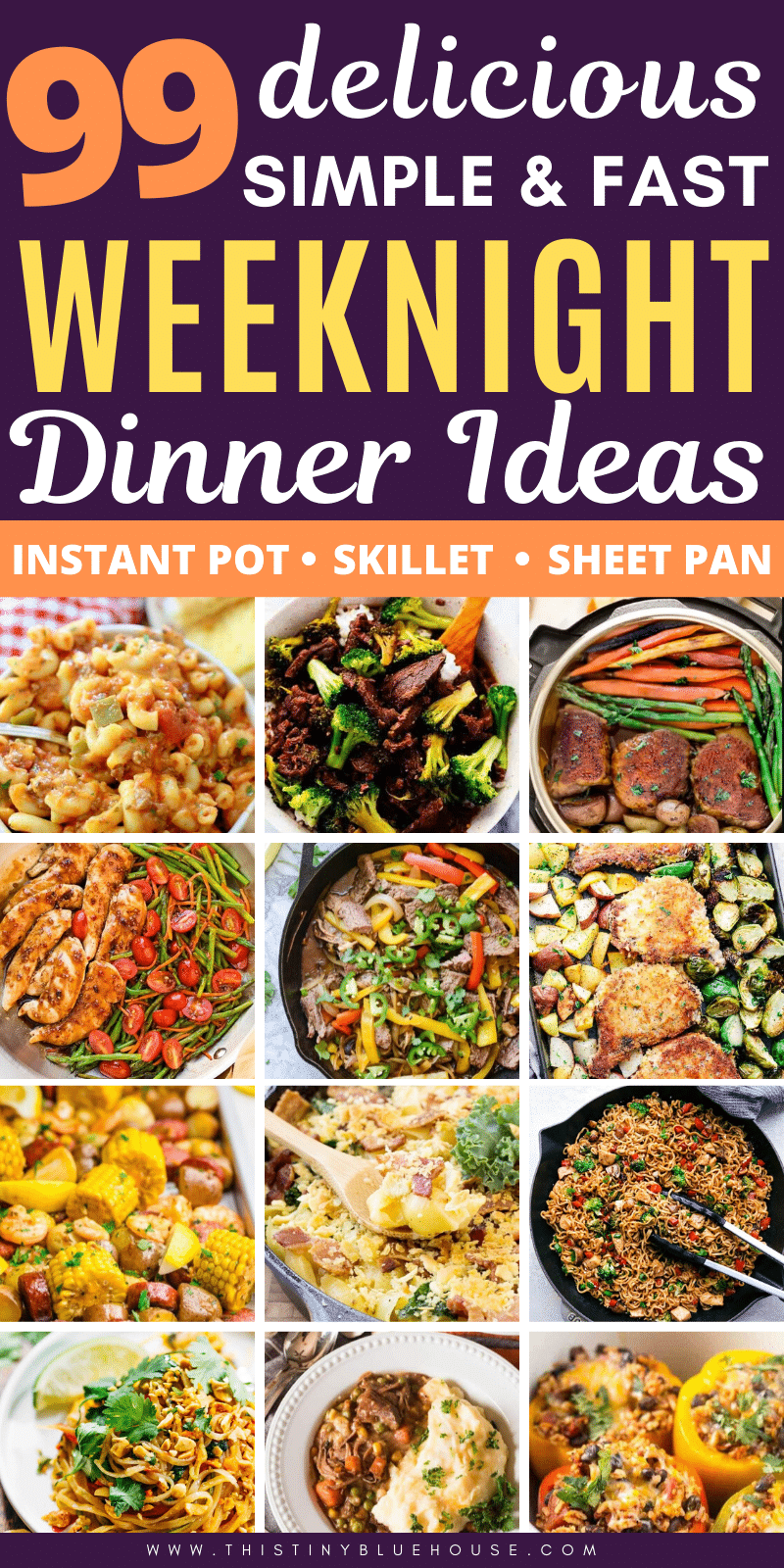 Get dinner on the table in a flash with these 99 delicious super simple and epically fast weeknight dinner ideas. #weeknightdinnerideas #easysupperideas #bestsupperideasforfamilies #besteasyweeknightdinners #bestsimpledinners #busynightdinnerideas #schoolnightsupperideas