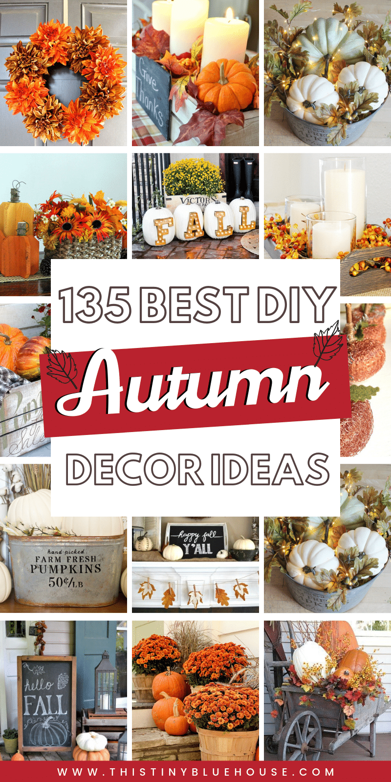 here are 130+ best DIY fall decor ideas that are perfect for welcoming autumn. These decor ideas include wreaths, indoor decor and even stunning outdoor porch decor ideas. These best DIY fall decor ideas are guaranteed to glam your house up in time for fall. #falldecor #diyfalldecor #autmndecordiy #DIYfallwreaths #DIYfalldecorinside #DIYfalldecorporch #fallporchideas #autumnporchideas #dollarstorefalldecor