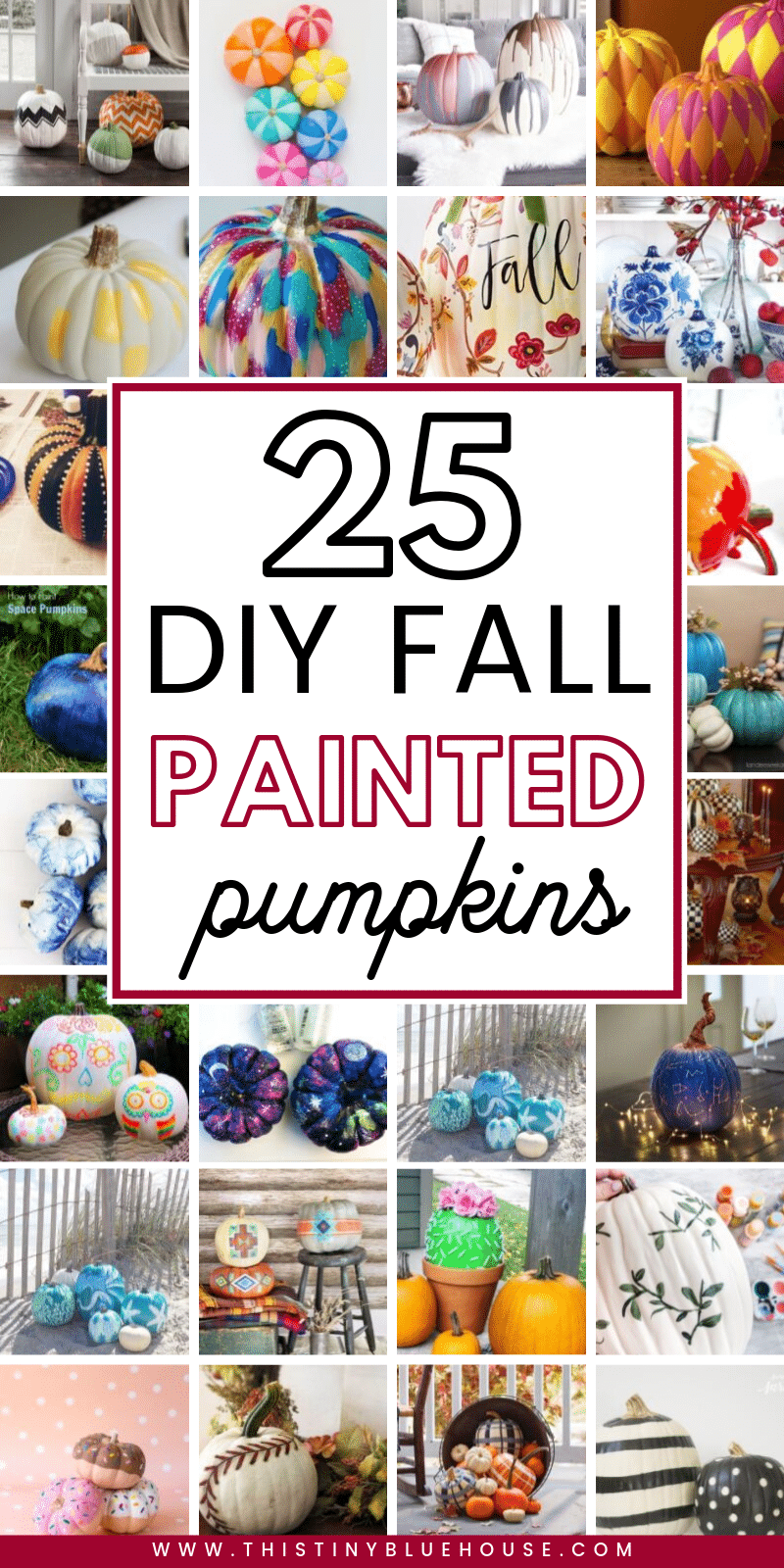 Elevate your fall decor with one or more of these gorgeous painted pumpkin ideas. From Farmhouse to monochrome there is a painted pumpkin to fit any decor. #falldecor #diyfalldecor #nocarvepumpkins #paintedpumpkins #easypaintedpumpkinideas #paintedpumpkinsforfall