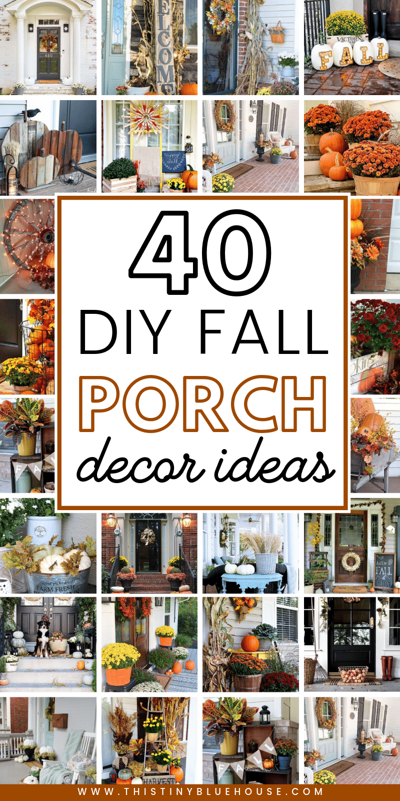 Glam up your front porch this autumn with one or a collection of these 40 gorgeous fall DIY porch decor ideas. These stunning porch ideas are guaranteed to make your porch stand out in your neighborhood. #fallfrontporch #fallporch #fallporchdecorations #fallporchfarmhouse #fallporchideas #fallporchdiy #autumnporch #autumnporchdiys