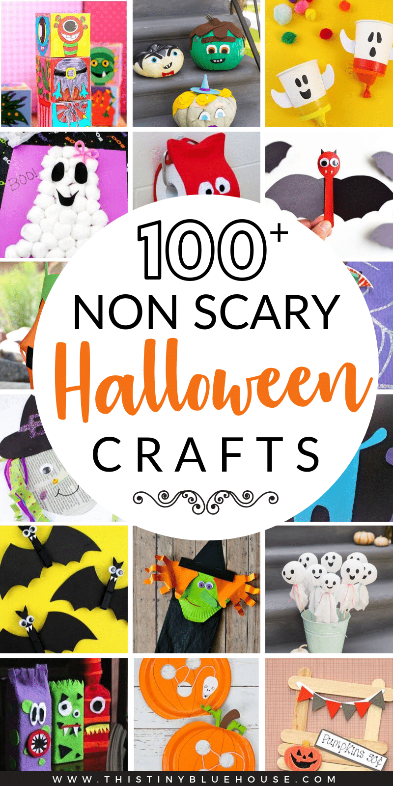 Here is the ultimate collection of over 100 best no scary Halloween crafts for kids. From cute pumpkins to monsters these crafts are perfect for even the youngest kiddos. #halloweencrafts #halloweencraftsforkids #nonscaryhalloweencrafts #halloweencraftsforpreschoolers #halloweencraftsfortoddlers #pumpkincrafts #witchcrafts #batcrafts #ghostcrafts #monstercrafts #easyhalloweencrafts
