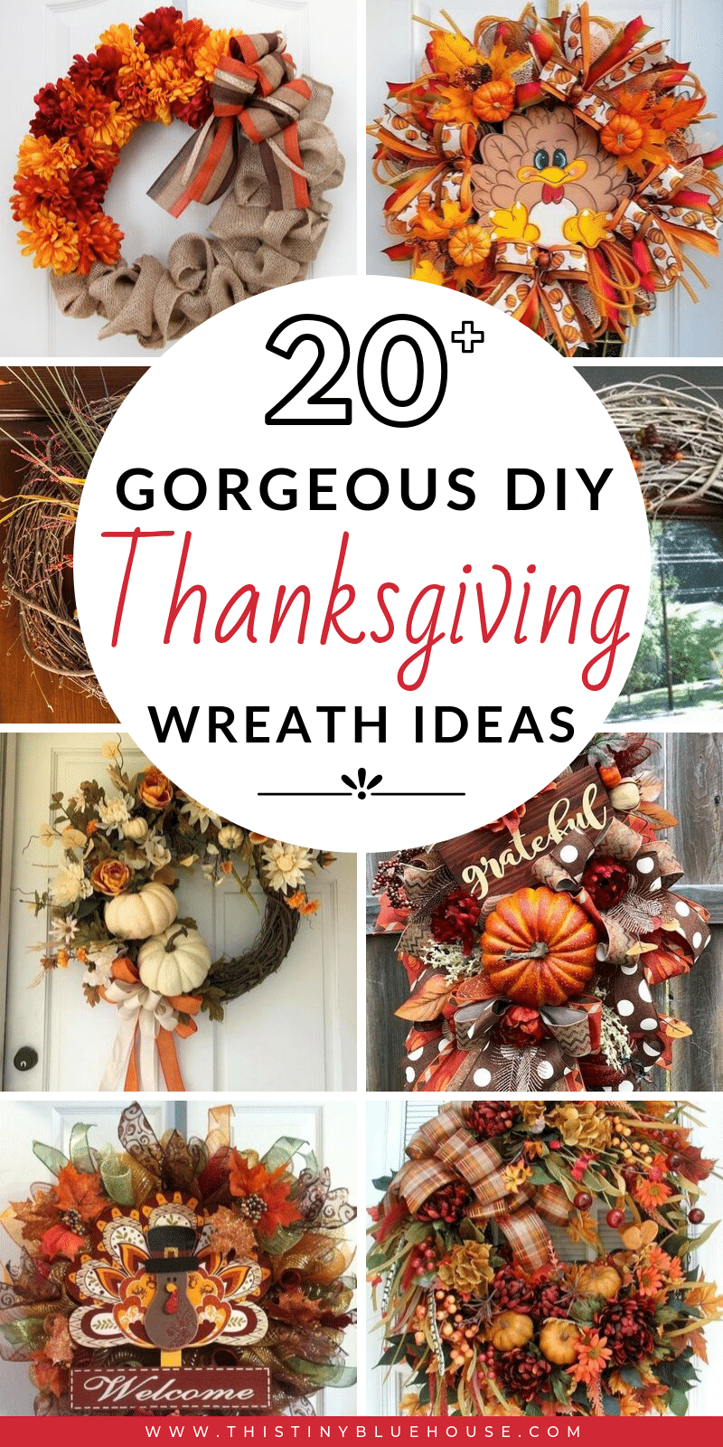 Are you looking for a gorgeous rustic Thanksgiving wreath for your front door? Here are 30 best wreaths that are a festive way to decorate for Thanksgiving. #thanksgivingdecor #thanksgivingwreaths #thanksgivingwreathdollarstore #rusticthanksgivingwreath #fallwreathideas