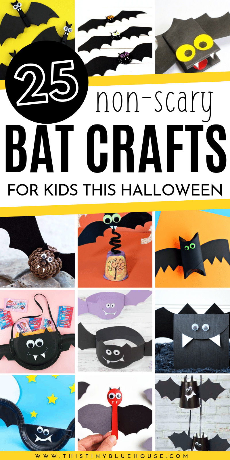 here are over 20 adorable fun bat crafts that'll help kiddos get super excited for Halloween. Easy and non scary these bat crafts for Halloween are guaranteed to provide hours of fun. #HalloweenCraftsForKids #HalloweenBatCrafts #BestHalloweenCrafts #EasyHalloweenCraftsForKids #NonScaryHalloweenCrafts #BatCrafts