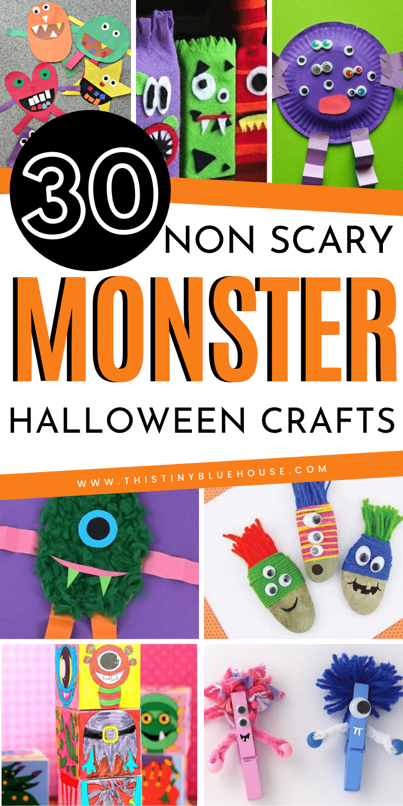here are 30 fun non scary monster Halloween crafts that kiddos just love. Easy, cute and fun these crafts are a great way to get kiddos super excited about Halloween. #halloweencrafts #nonscaryhalloweencrafts #monstercraftsforkids #monstercrafts #monstercraftsforhalloween #nonscaryhalloweenmonstercrafts