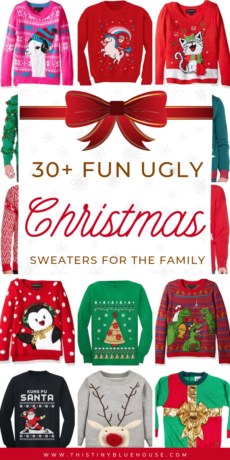 Are you looking for an ugly Christmas sweater for a holiday party? Here are 30+ best ugly Christmas sweaters for the whole family! #ChristmasSweaters #UglyChristmasSweaters #ChristmasSweatersFunny #ChristmasSweatersTacky #ChristmasSweatersParty #UglyChristmasSweatersKids #UglyChristmasSweatersCute #UglyChristmasSweatersFamily